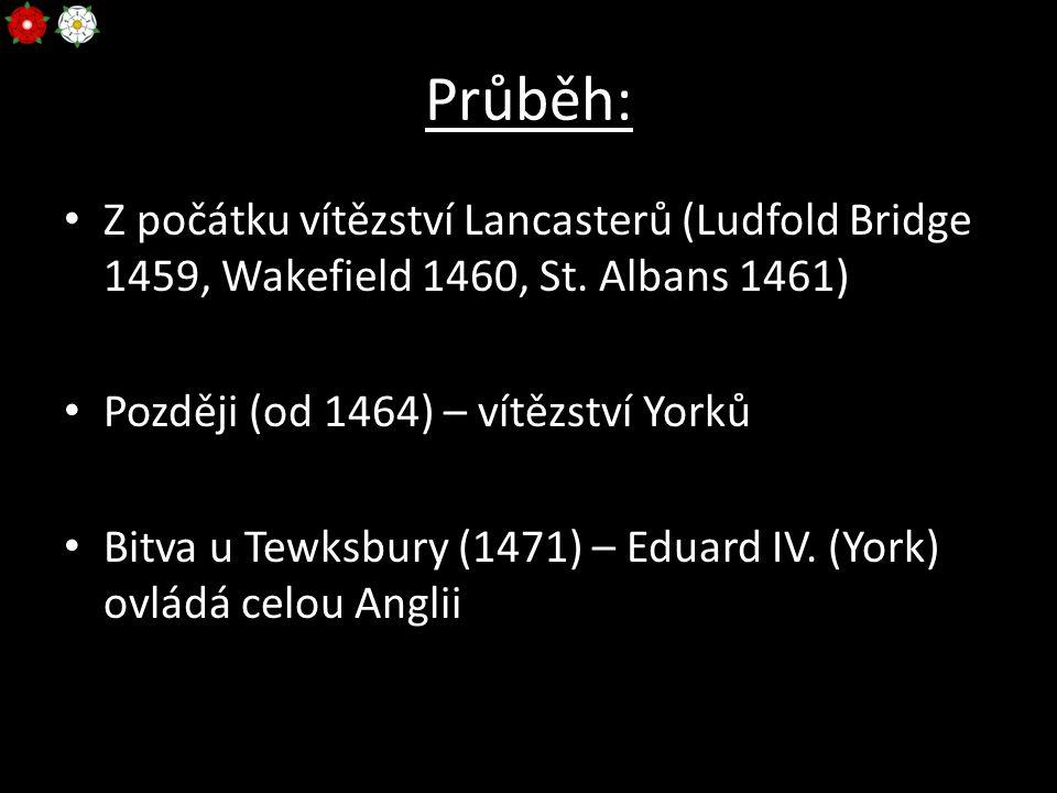 Průběh: Z počátku vítězství Lancasterů (Ludfold Bridge 1459, Wakefield 1460, St. Albans 1461) Později (od 1464) – vítězství Yorků Bitva u Tewksbury (1