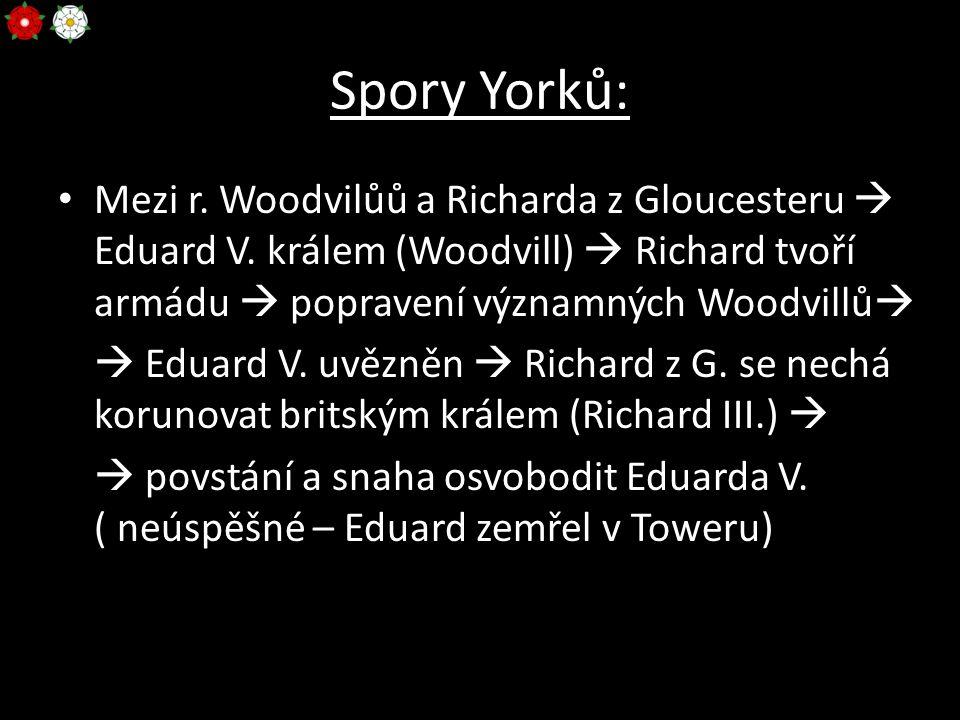 Spory Yorků: Mezi r. Woodvilůů a Richarda z Gloucesteru  Eduard V. králem (Woodvill)  Richard tvoří armádu  popravení významných Woodvillů   Edua