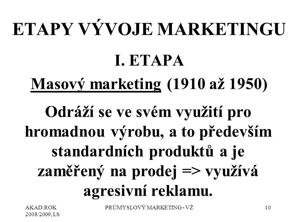 AKAD.ROK 2008/2009, LS PRŮMYSLOVÝ MARKETING - VŽ10 ETAPY VÝVOJE MARKETINGU I. ETAPA Masový marketing (1910 až 1950) Odráží se ve svém využití pro hrom