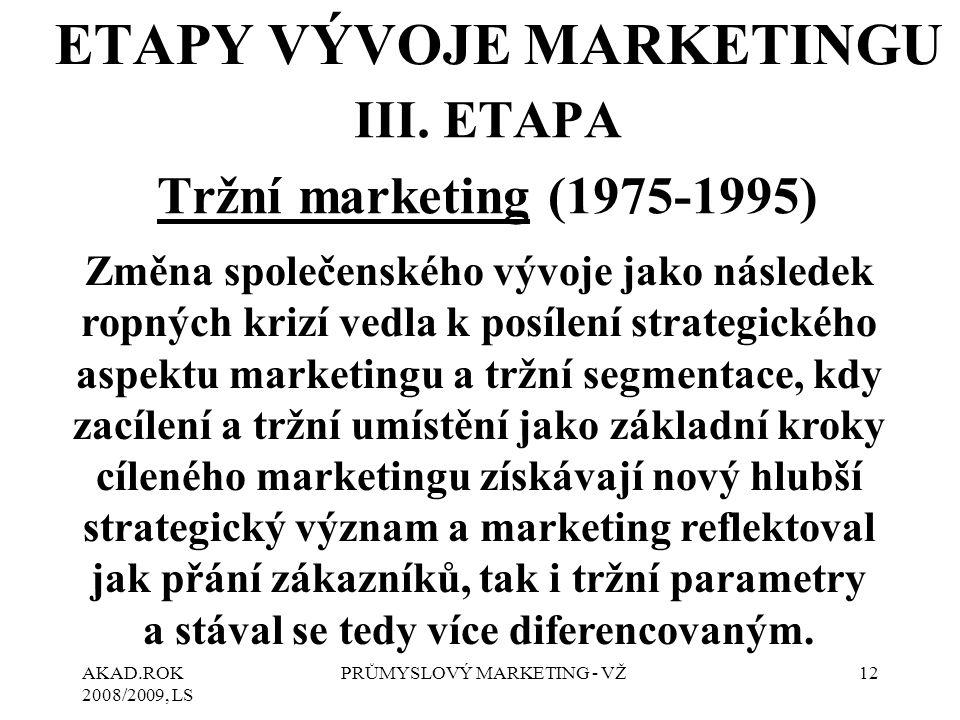 AKAD.ROK 2008/2009, LS PRŮMYSLOVÝ MARKETING - VŽ12 III. ETAPA Tržní marketing (1975-1995) ETAPY VÝVOJE MARKETINGU Změna společenského vývoje jako násl