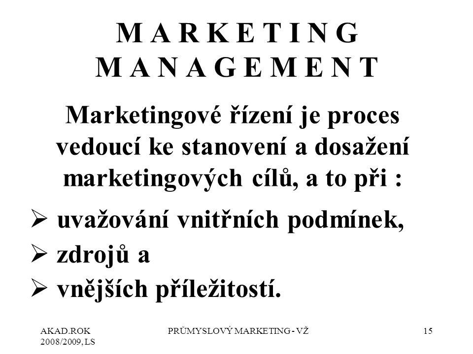 AKAD.ROK 2008/2009, LS PRŮMYSLOVÝ MARKETING - VŽ15 M A R K E T I N G M A N A G E M E N T Marketingové řízení je proces vedoucí ke stanovení a dosažení