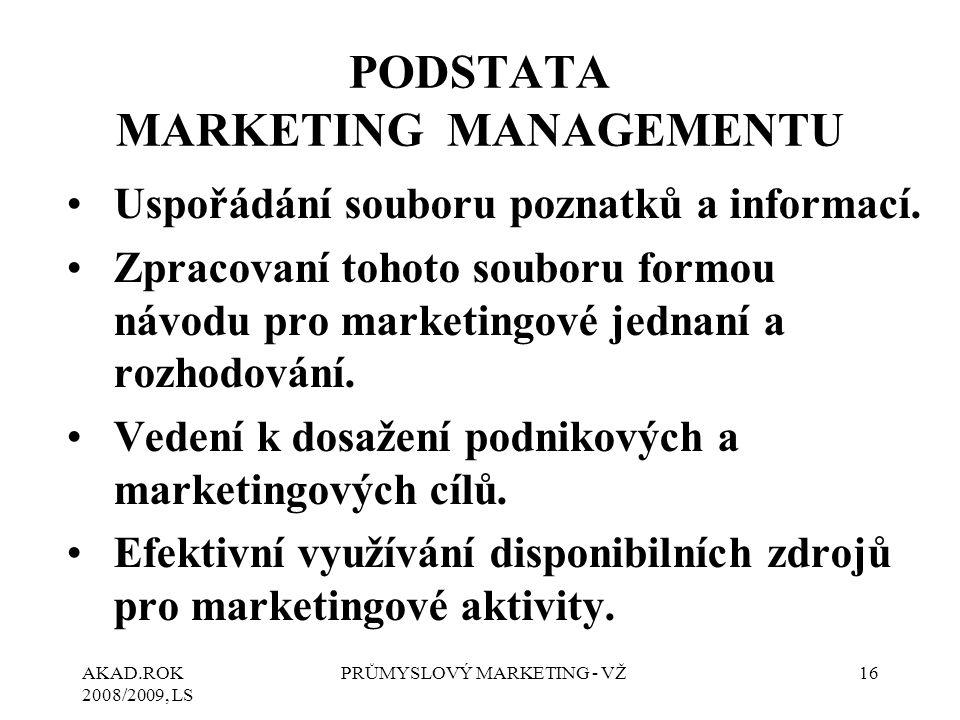 AKAD.ROK 2008/2009, LS PRŮMYSLOVÝ MARKETING - VŽ16 PODSTATA MARKETING MANAGEMENTU Uspořádání souboru poznatků a informací. Zpracovaní tohoto souboru f