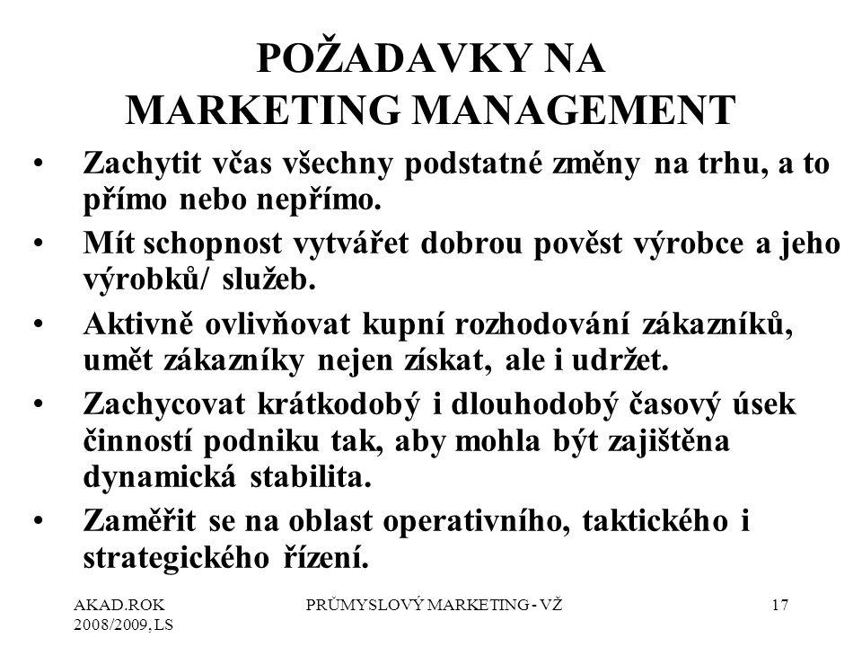 AKAD.ROK 2008/2009, LS PRŮMYSLOVÝ MARKETING - VŽ17 POŽADAVKY NA MARKETING MANAGEMENT Zachytit včas všechny podstatné změny na trhu, a to přímo nebo nepřímo.