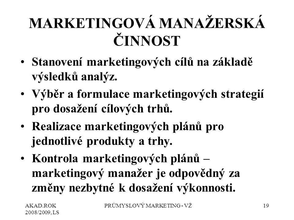 AKAD.ROK 2008/2009, LS PRŮMYSLOVÝ MARKETING - VŽ19 MARKETINGOVÁ MANAŽERSKÁ ČINNOST Stanovení marketingových cílů na základě výsledků analýz. Výběr a f