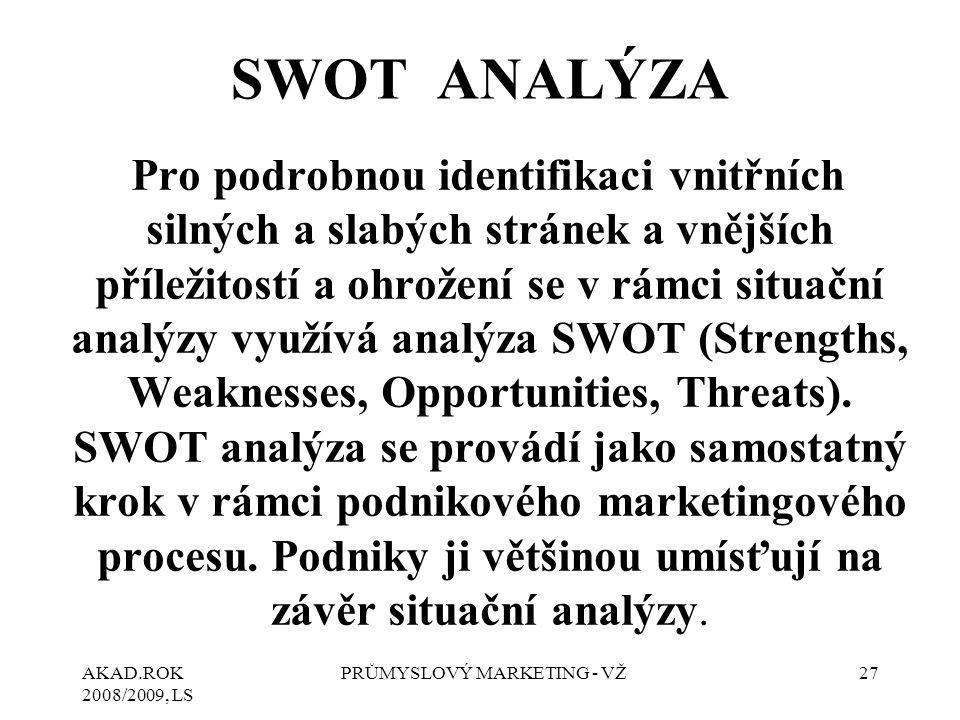 AKAD.ROK 2008/2009, LS PRŮMYSLOVÝ MARKETING - VŽ27 SWOT ANALÝZA Pro podrobnou identifikaci vnitřních silných a slabých stránek a vnějších příležitostí a ohrožení se v rámci situační analýzy využívá analýza SWOT (Strengths, Weaknesses, Opportunities, Threats).