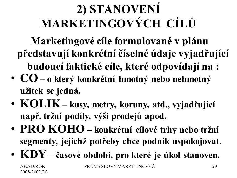 AKAD.ROK 2008/2009, LS PRŮMYSLOVÝ MARKETING - VŽ29 2) STANOVENÍ MARKETINGOVÝCH CÍLŮ Marketingové cíle formulované v plánu představují konkrétní číselné údaje vyjadřující budoucí faktické cíle, které odpovídají na : CO – o který konkrétní hmotný nebo nehmotný užitek se jedná.