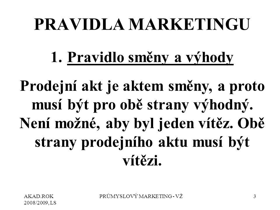 AKAD.ROK 2008/2009, LS PRŮMYSLOVÝ MARKETING - VŽ3 PRAVIDLA MARKETINGU 1.Pravidlo směny a výhody Prodejní akt je aktem směny, a proto musí být pro obě strany výhodný.