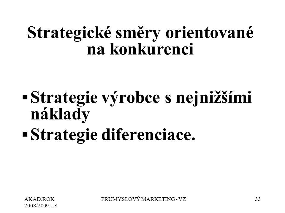 AKAD.ROK 2008/2009, LS PRŮMYSLOVÝ MARKETING - VŽ33 ▪Strategie výrobce s nejnižšími náklady ▪Strategie diferenciace. Strategické směry orientované na k