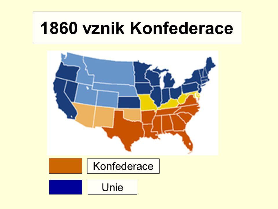 Konfederace 1860 odtržení od Unie Prezident: Jefferson Davis Hl. město: Richmond