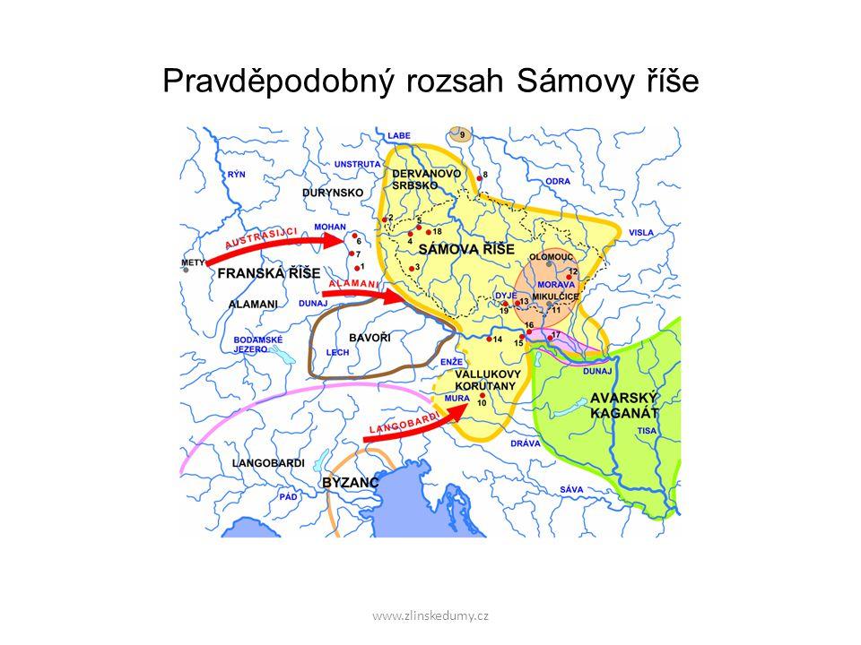 www.zlinskedumy.cz Pravděpodobný rozsah Sámovy říše