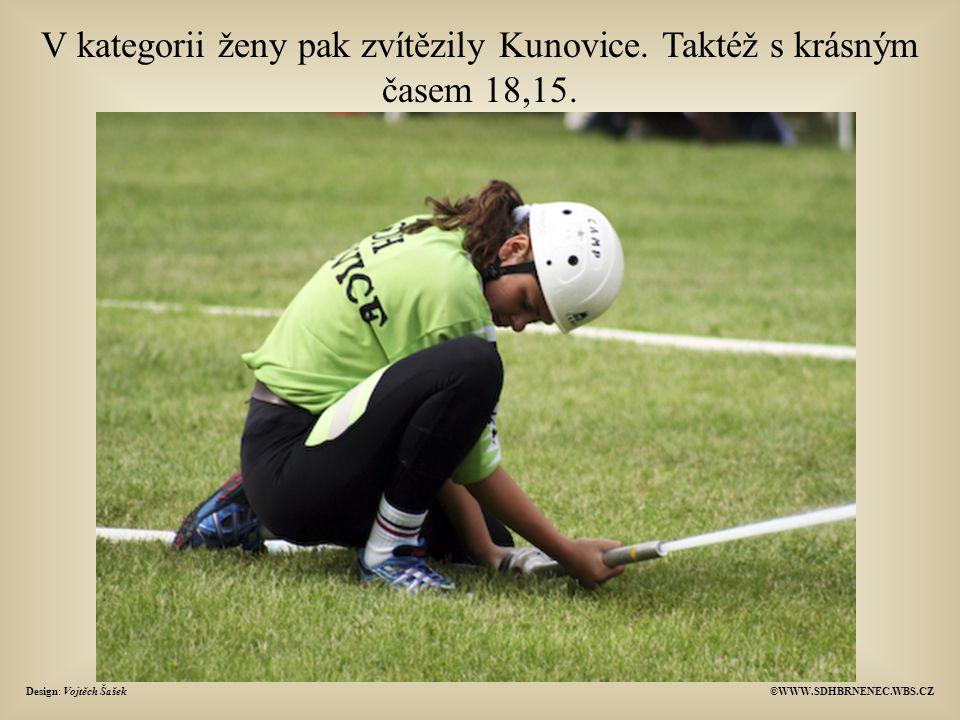 V kategorii ženy pak zvítězily Kunovice. Taktéž s krásným časem 18,15.