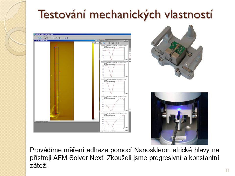 11 Testování mechanických vlastností Provádíme měření adheze pomocí Nanosklerometrické hlavy na přístroji AFM Solver Next.