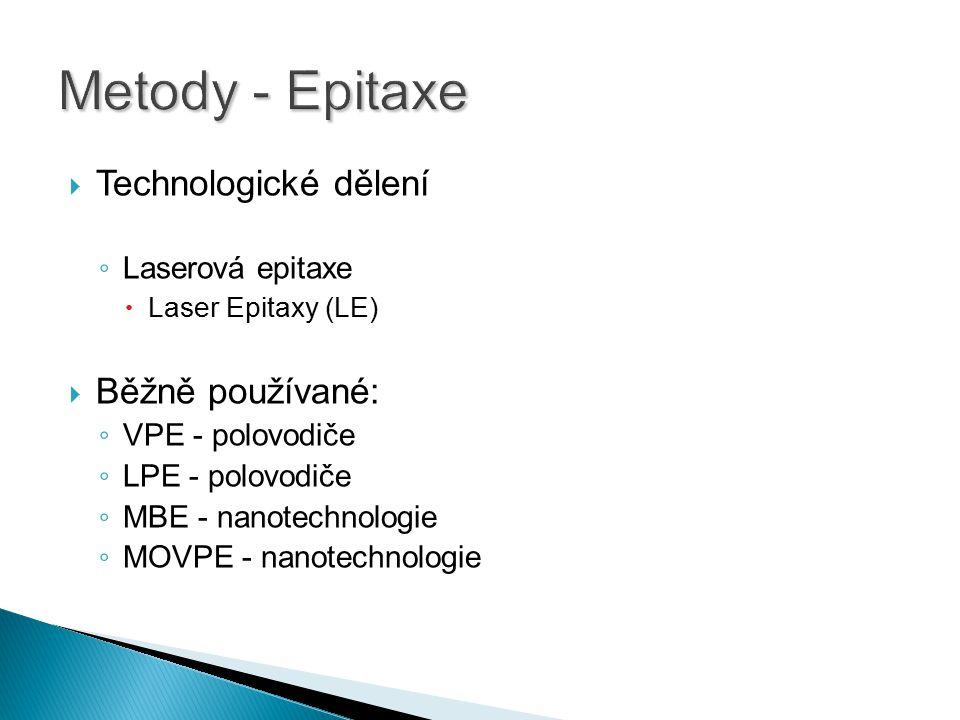  Technologické dělení ◦ Laserová epitaxe  Laser Epitaxy (LE)  Běžně používané: ◦ VPE - polovodiče ◦ LPE - polovodiče ◦ MBE - nanotechnologie ◦ MOVP