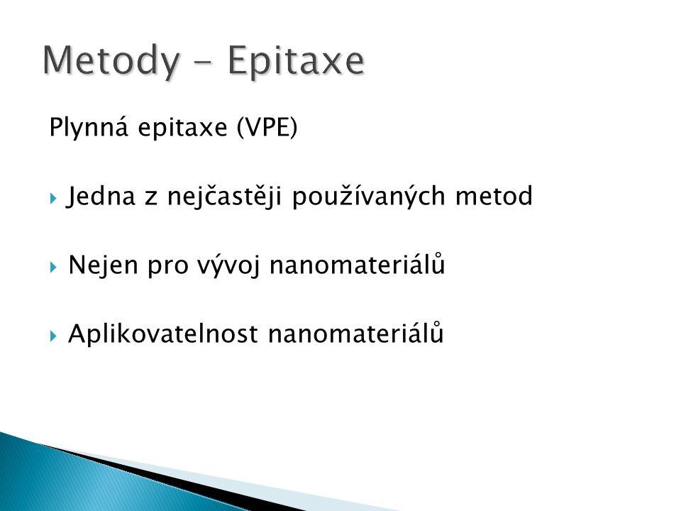 Plynná epitaxe (VPE)  Jedna z nejčastěji používaných metod  Nejen pro vývoj nanomateriálů  Aplikovatelnost nanomateriálů