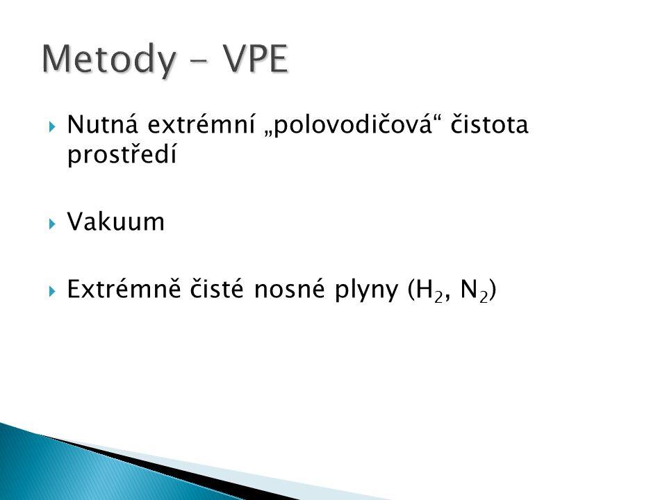""" Nutná extrémní """"polovodičová"""" čistota prostředí  Vakuum  Extrémně čisté nosné plyny (H 2, N 2 )"""