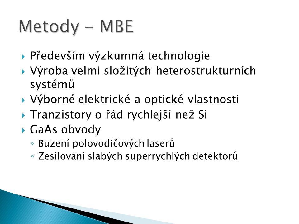  Především výzkumná technologie  Výroba velmi složitých heterostrukturních systémů  Výborné elektrické a optické vlastnosti  Tranzistory o řád ryc