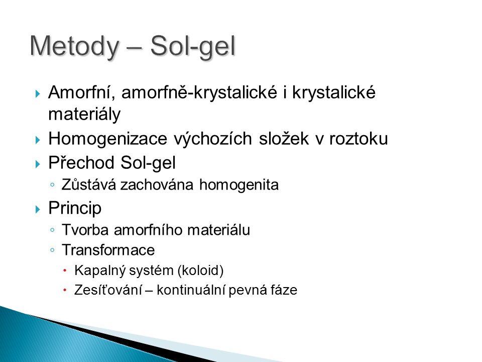  Amorfní, amorfně-krystalické i krystalické materiály  Homogenizace výchozích složek v roztoku  Přechod Sol-gel ◦ Zůstává zachována homogenita  Pr