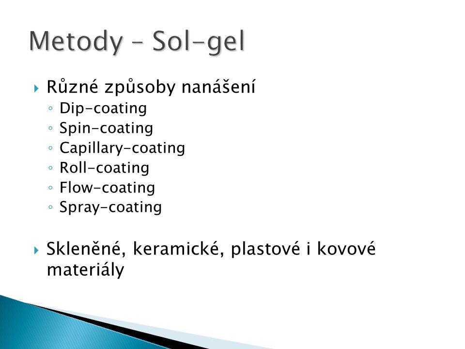  Různé způsoby nanášení ◦ Dip-coating ◦ Spin-coating ◦ Capillary-coating ◦ Roll-coating ◦ Flow-coating ◦ Spray-coating  Skleněné, keramické, plastov