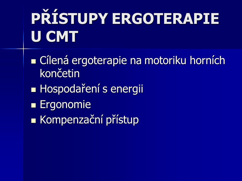 PŘÍSTUPY ERGOTERAPIE U CMT Cílená ergoterapie na motoriku horních končetin Cílená ergoterapie na motoriku horních končetin Hospodaření s energii Hospodaření s energii Ergonomie Ergonomie Kompenzační přístup Kompenzační přístup