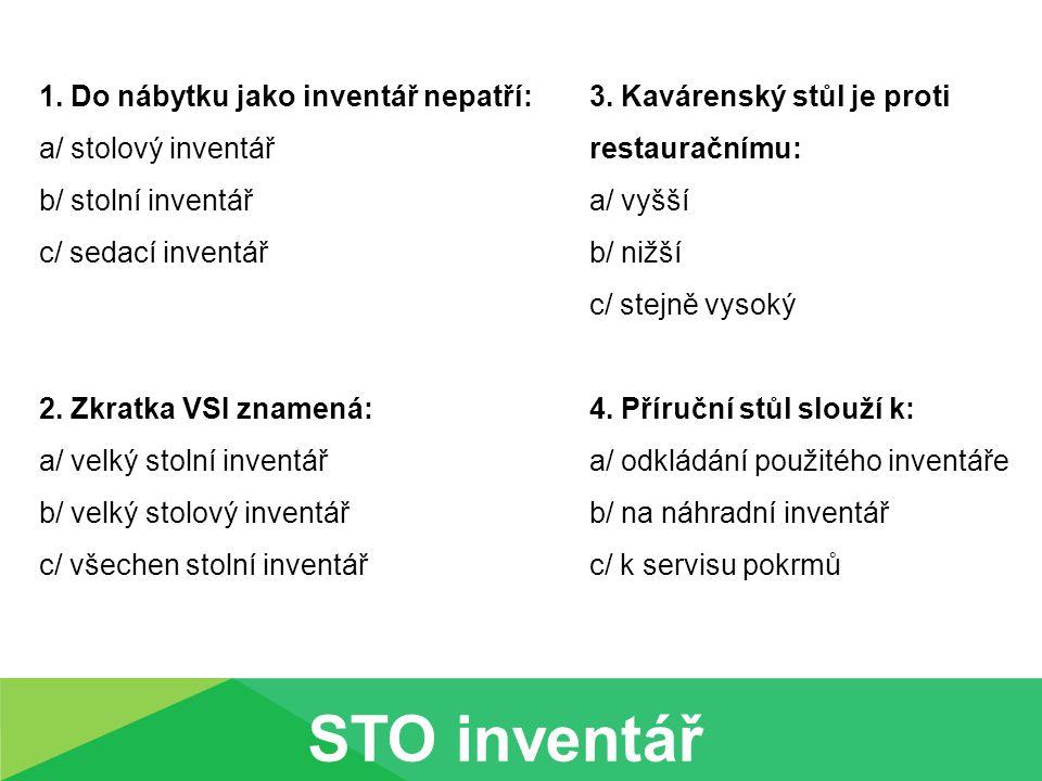1. Do nábytku jako inventář nepatří: a/ stolový inventář b/ stolní inventář c/ sedací inventář 2. Zkratka VSI znamená: a/ velký stolní inventář b/ vel