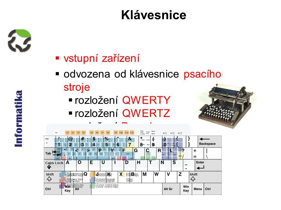 Informatika Klávesnice  vstupní zařízení  odvozena od klávesnice psacího stroje  rozložení QWERTY  rozložení QWERTZ  rozložení Dvorak