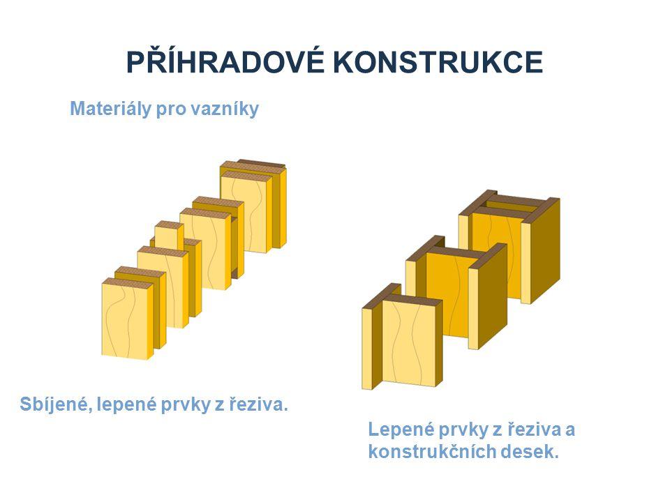 PŘÍHRADOVÉ KONSTRUKCE Materiály pro vazníky Sbíjené, lepené prvky z řeziva.
