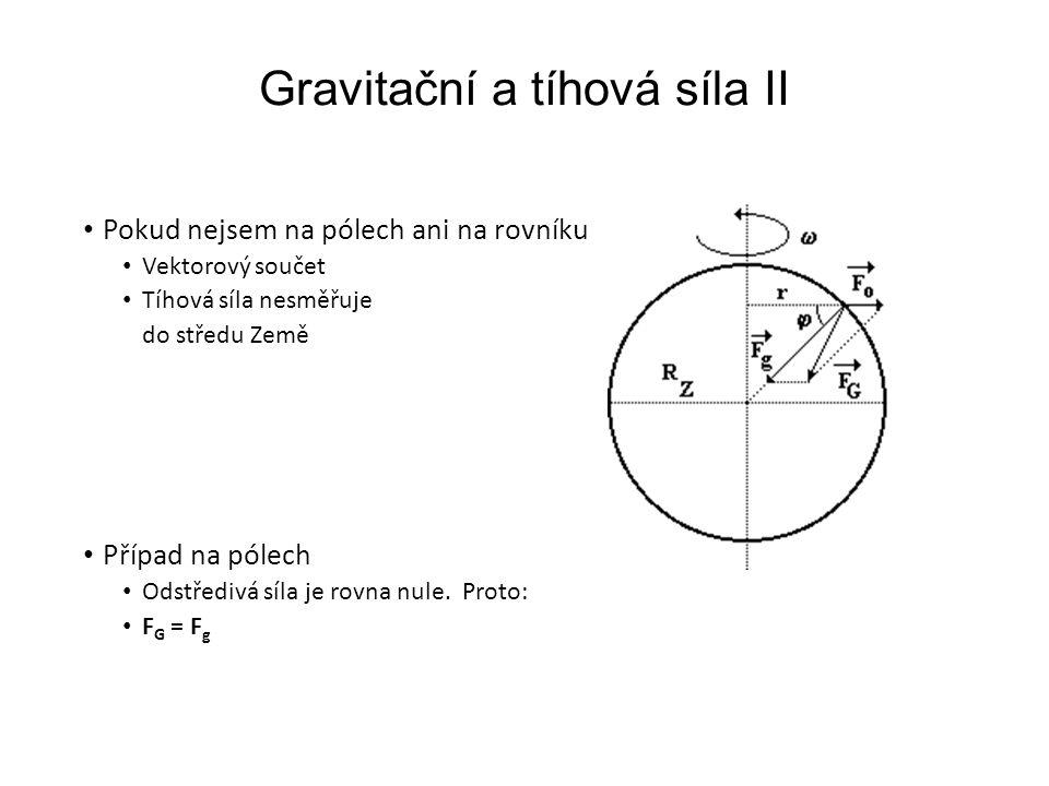 Gravitační a tíhová síla II Pokud nejsem na pólech ani na rovníku Vektorový součet Tíhová síla nesměřuje do středu Země Případ na pólech Odstředivá síla je rovna nule.