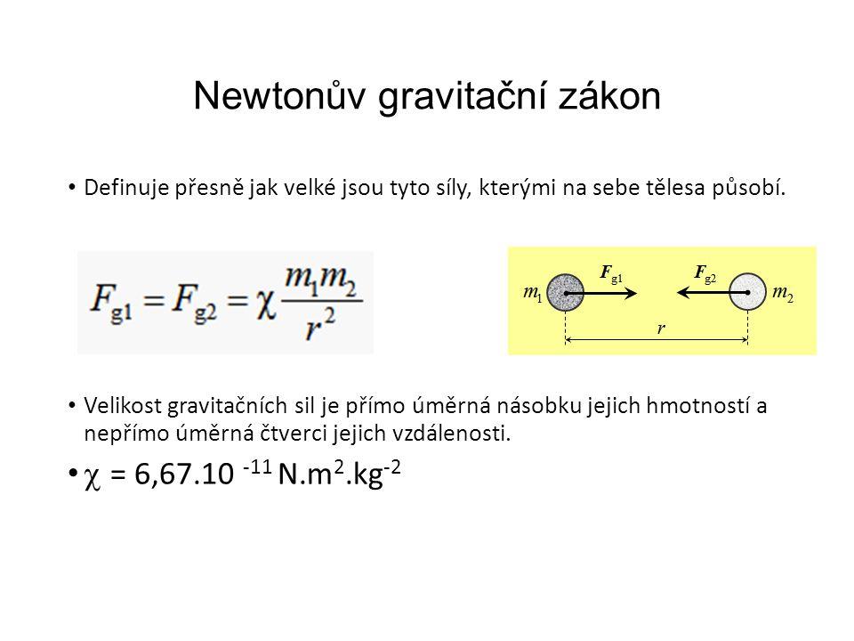 Newtonův gravitační zákon Definuje přesně jak velké jsou tyto síly, kterými na sebe tělesa působí.