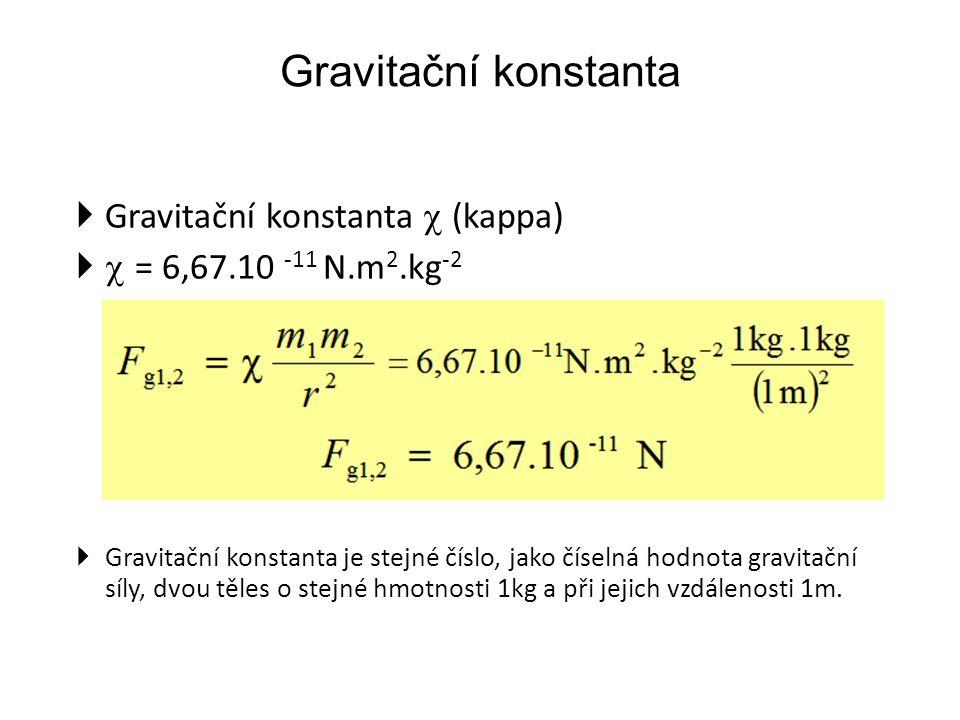 Gravitační konstanta  Gravitační konstanta  (kappa)   = 6,67.10 -11 N.m 2.kg -2  Gravitační konstanta je stejné číslo, jako číselná hodnota gravitační síly, dvou těles o stejné hmotnosti 1kg a při jejich vzdálenosti 1m.