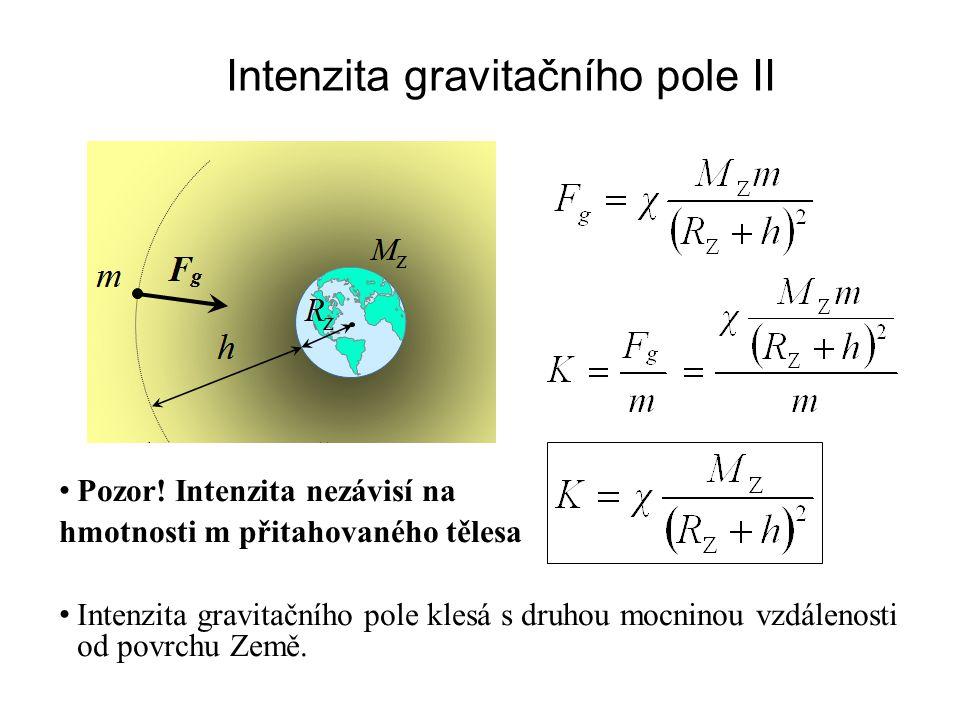 Intenzita gravitačního pole II Pozor.