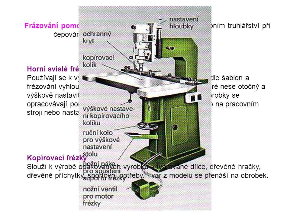 Frázování pomocí sání – používá se zejména ve stavebním truhlářství při čepování oken a dveří. Horní svislé frézky Používají se k výrobě svlaků a dráž
