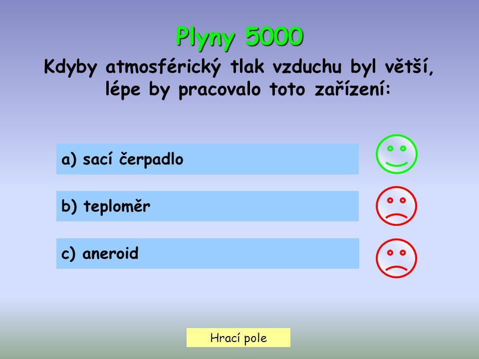 Hrací pole Plyny 5000 Kdyby atmosférický tlak vzduchu byl větší, lépe by pracovalo toto zařízení: a) sací čerpadlo b) teploměr c) aneroid