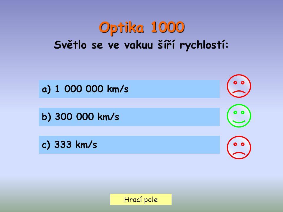 Optika 1000 Světlo se ve vakuu šíří rychlostí: Hrací pole a) 1 000 000 km/s b) 300 000 km/s c) 333 km/s
