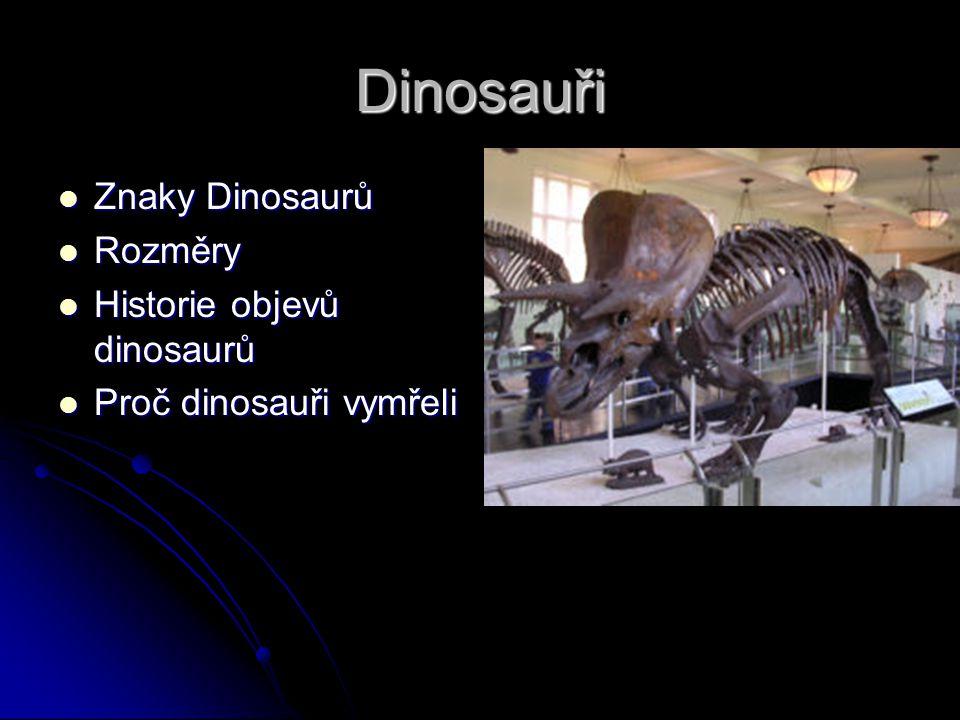 Dinosauři Znaky Dinosaurů Znaky Dinosaurů Rozměry Rozměry Historie objevů dinosaurů Historie objevů dinosaurů Proč dinosauři vymřeli Proč dinosauři vymřeli
