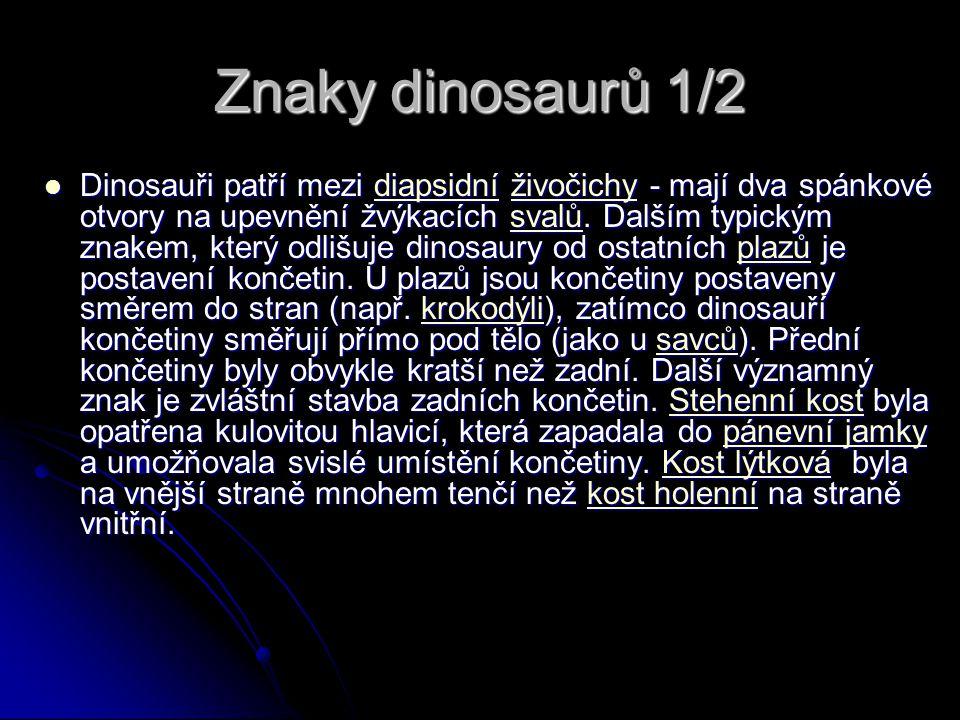 Znaky dinosaurů 1/2 Dinosauři patří mezi diapsidní živočichy - mají dva spánkové otvory na upevnění žvýkacích svalů. Dalším typickým znakem, který odl