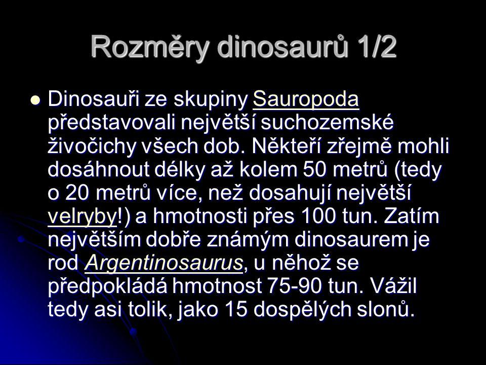 Rozměry dinosaurů 1/2 Dinosauři ze skupiny Sauropoda představovali největší suchozemské živočichy všech dob. Někteří zřejmě mohli dosáhnout délky až k