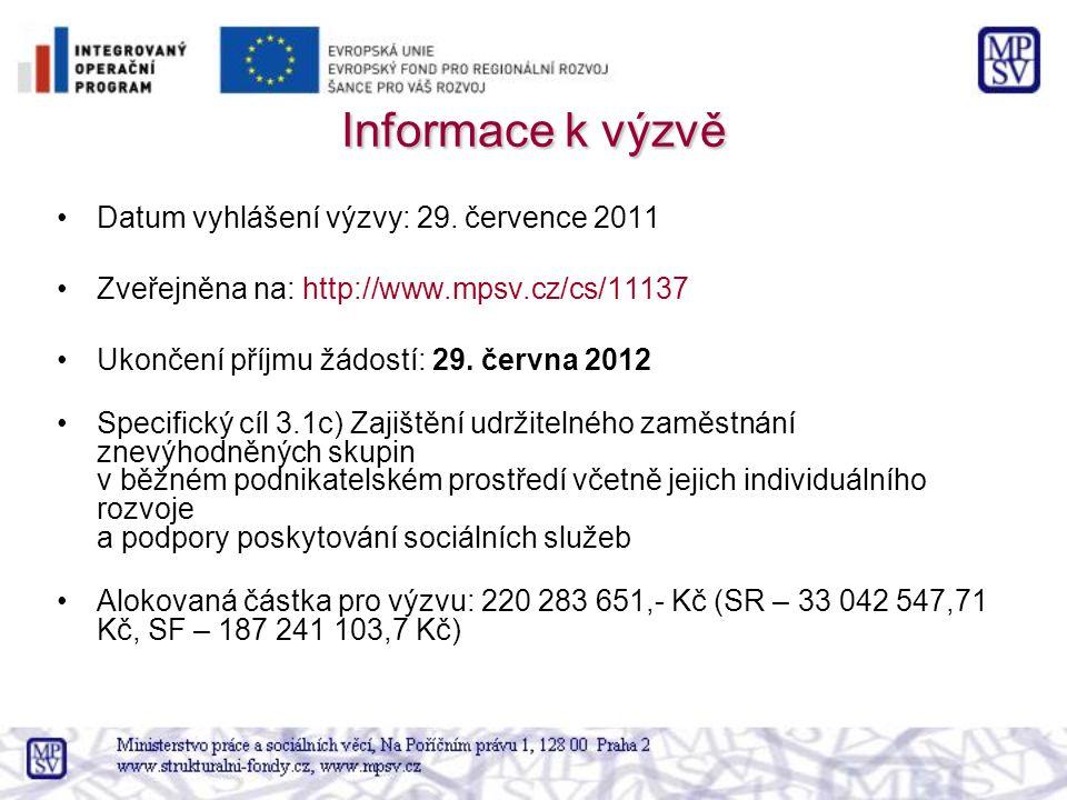 Informace k výzvě Datum vyhlášení výzvy: 29. července 2011 Zveřejněna na: http://www.mpsv.cz/cs/11137 Ukončení příjmu žádostí: 29. června 2012 Specifi