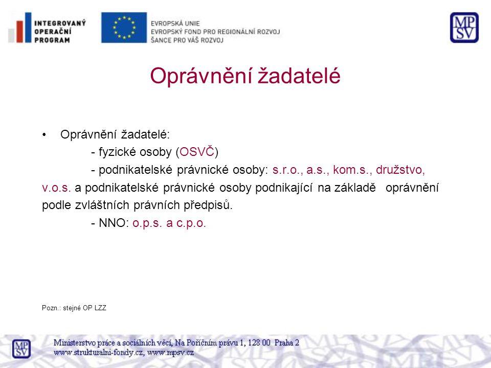 Oprávnění žadatelé Oprávnění žadatelé: - fyzické osoby (OSVČ) - podnikatelské právnické osoby: s.r.o., a.s., kom.s., družstvo, v.o.s. a podnikatelské