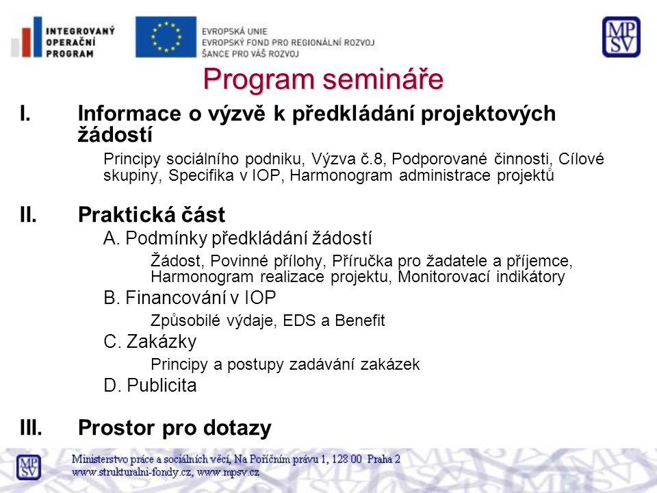 Program semináře I.Informace o výzvě k předkládání projektových žádostí Principy sociálního podniku, Výzva č.8, Podporované činnosti, Cílové skupiny,