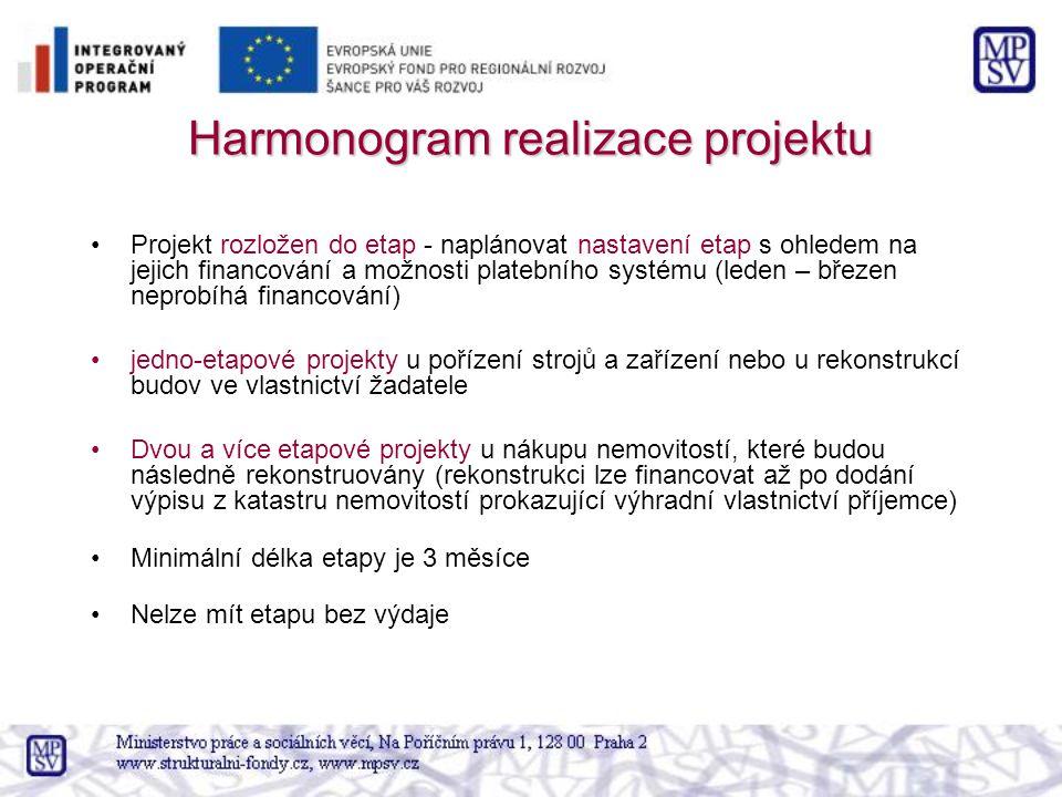 Harmonogram realizace projektu Projekt rozložen do etap - naplánovat nastavení etap s ohledem na jejich financování a možnosti platebního systému (led