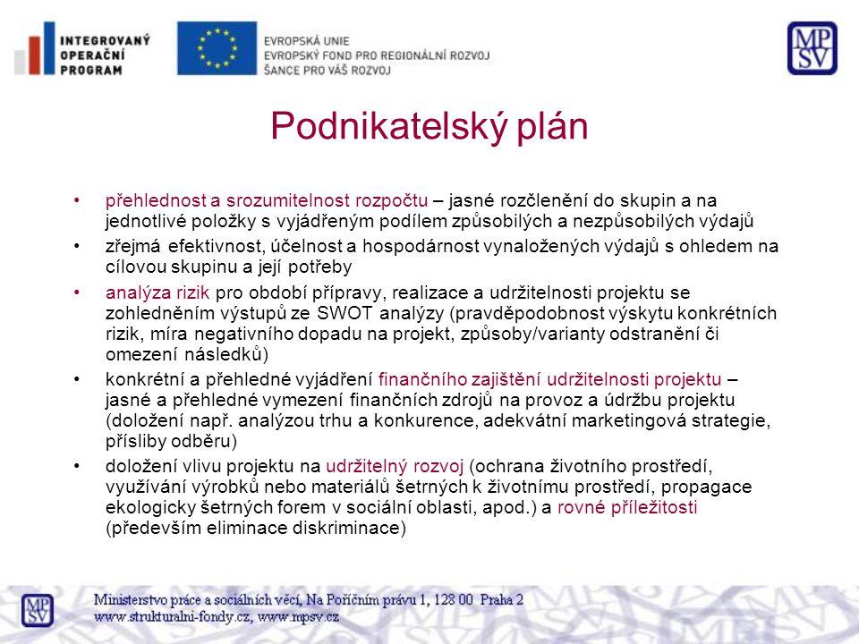 Podnikatelský plán přehlednost a srozumitelnost rozpočtu – jasné rozčlenění do skupin a na jednotlivé položky s vyjádřeným podílem způsobilých a nezpů