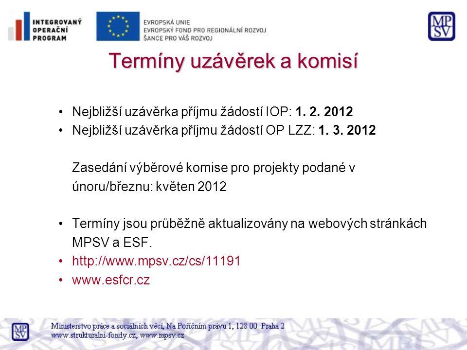 Termíny uzávěrek a komisí Nejbližší uzávěrka příjmu žádostí IOP: 1. 2. 2012 Nejbližší uzávěrka příjmu žádostí OP LZZ: 1. 3. 2012 Zasedání výběrové kom