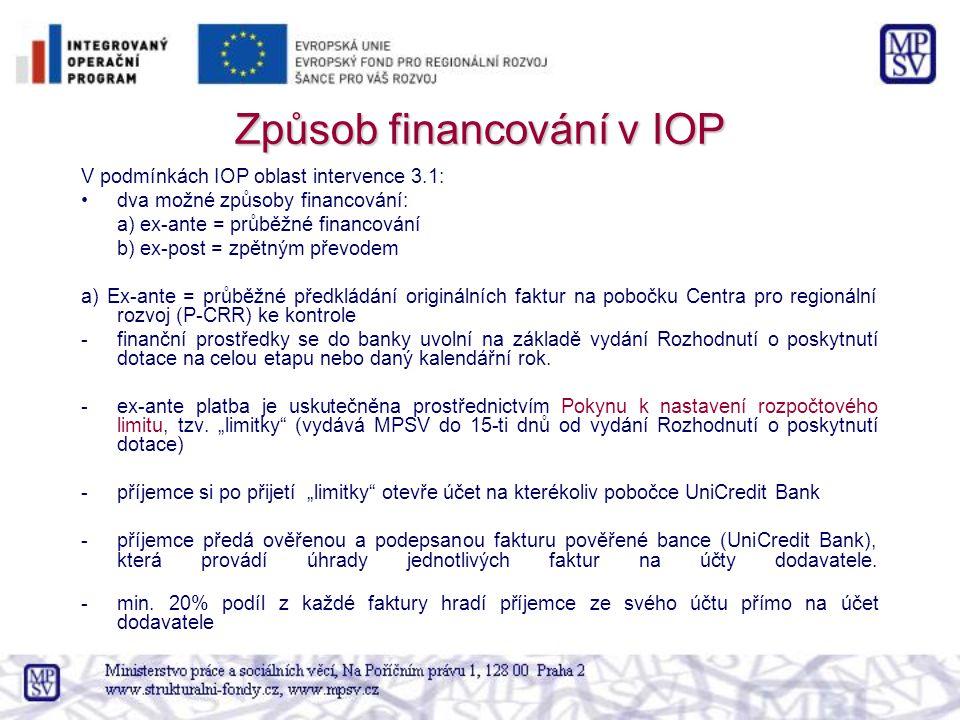 Způsob financování v IOP V podmínkách IOP oblast intervence 3.1: dva možné způsoby financování: a) ex-ante = průběžné financování b) ex-post = zpětným