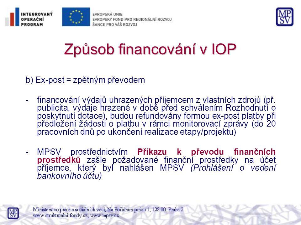 Způsob financování v IOP b) Ex-post = zpětným převodem -financování výdajů uhrazených příjemcem z vlastních zdrojů (př. publicita, výdaje hrazené v do