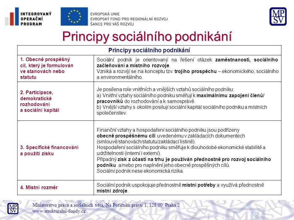 Ministerstvo práce a sociálních věcí, Na Poříčním právu 1, 128 00 Praha 2 www.strukturalni-fondy.cz Principy sociálního podnikání 1. Obecně prospěšný