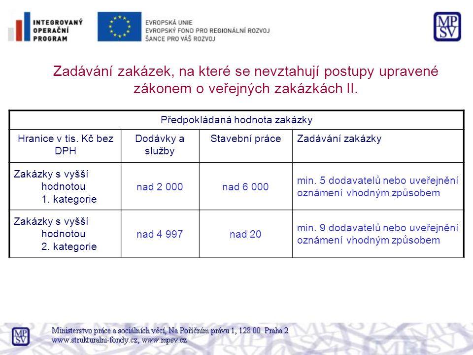 Zadávání zakázek, na které se nevztahují postupy upravené zákonem o veřejných zakázkách II. Předpokládaná hodnota zakázky Hranice v tis. Kč bez DPH Do