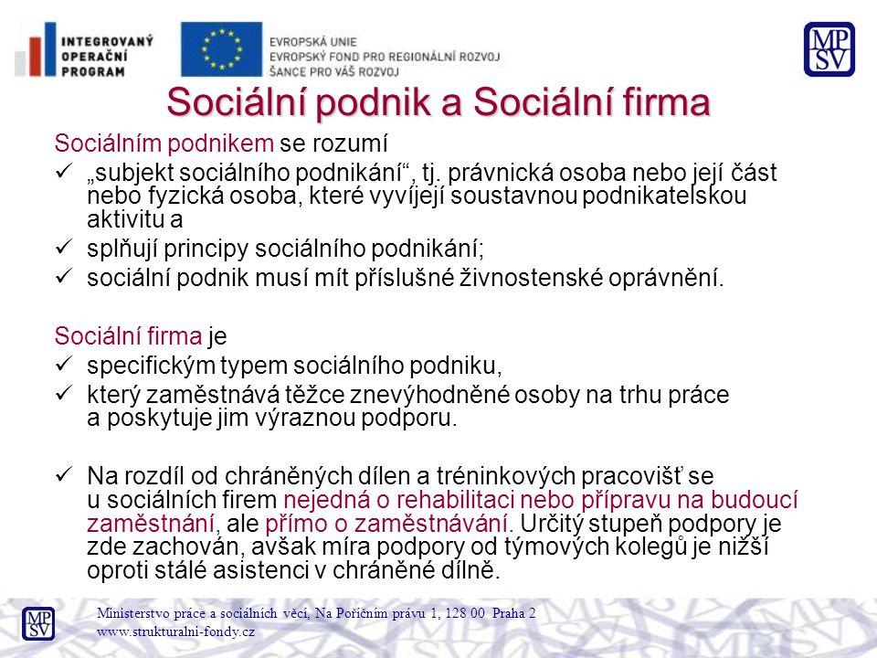 Ministerstvo práce a sociálních věcí, Na Poříčním právu 1, 128 00 Praha 2 www.strukturalni-fondy.cz Sociální podnik a Sociální firma Sociálním podnike