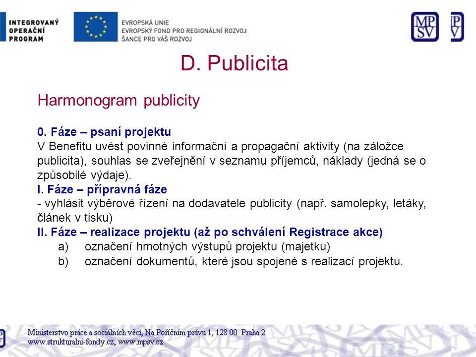 0. Fáze – psaní projektu V Benefitu uvést povinné informační a propagační aktivity (na záložce publicita), souhlas se zveřejnění v seznamu příjemců, n