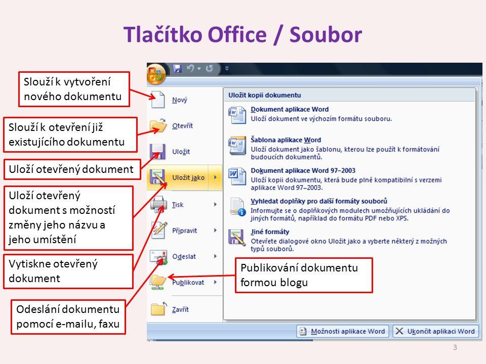 Tlačítko Office / Soubor Slouží k vytvoření nového dokumentu Slouží k otevření již existujícího dokumentu Uloží otevřený dokument Uloží otevřený dokum