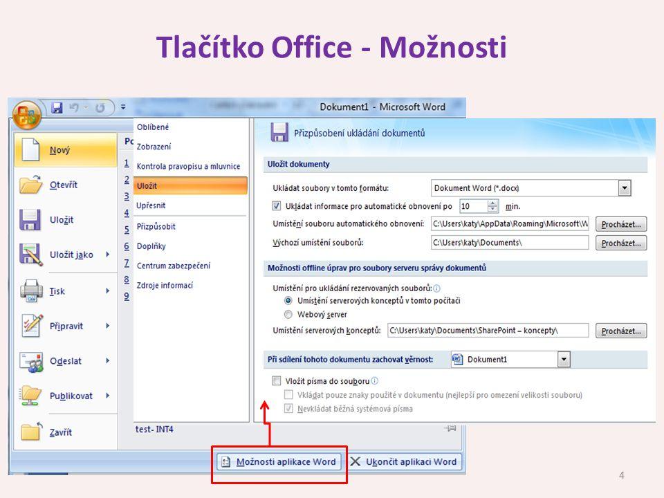 Tlačítko Office - Možnosti 4